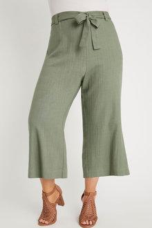 Sara Linen Blend Tie Waist Pant - 271593