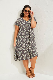 Sara Linen Blend V Neck Dress - 271622