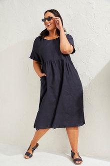 Sara Linen Blend Short Sleeve Dress - 271625