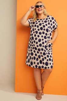 Sara Linen Blend Drape Pocket Dress - 271633