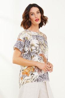 Grace Hill Linen Blend Printed Top - 271857