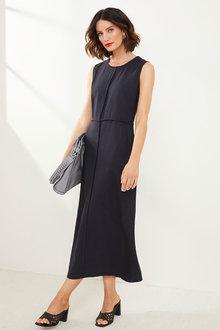 Grace Hill Linen Blend Panel Midi Dress - 271858