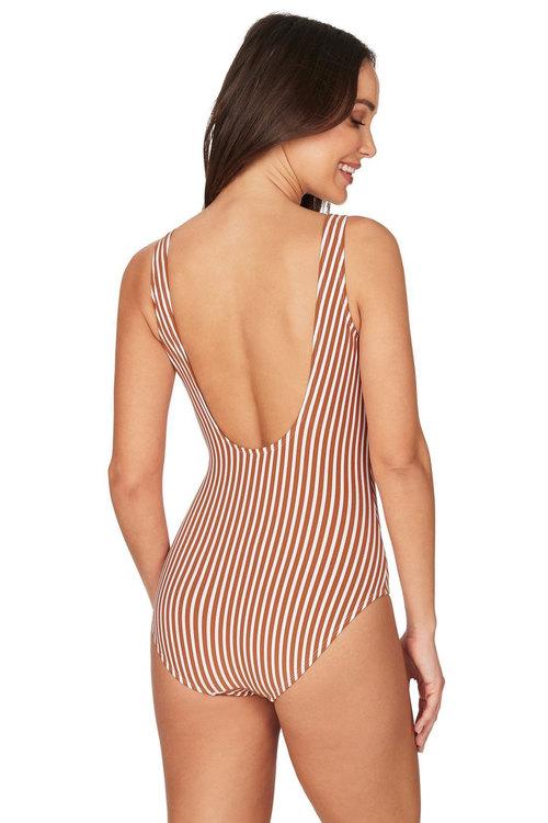 Nip Tuck Swim Torino Stripe Copper Scoop Back One Piece Swimsuit