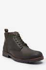 Next Leather Tab Lace-Up Boots
