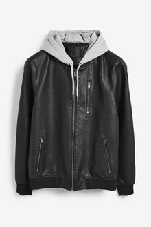 Next Faux Leather Bomber Jacket With Jersey Hood - 272521