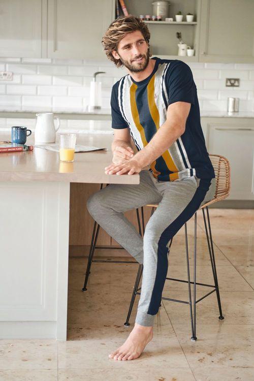 Next Vertical Stripe Cuffed Jersey Pyjama Set