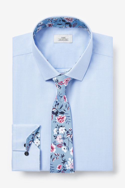 Next Trim Detail Shirt And Printed Tie Set-Slim Fit Single Cuff