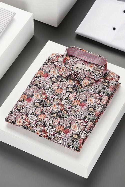 Next Floral Print Trim Detail Shirt-Regular Fit Single Cuff