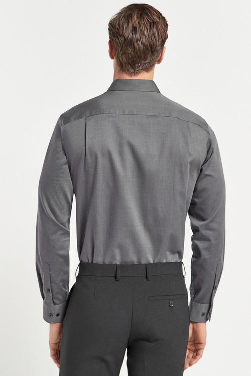 Next Cotton Tonic Trimmed Shirt-Regular Fit Single Cuff