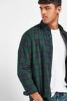 Next Check Brushed Long Sleeve Shirt-Regular Fit