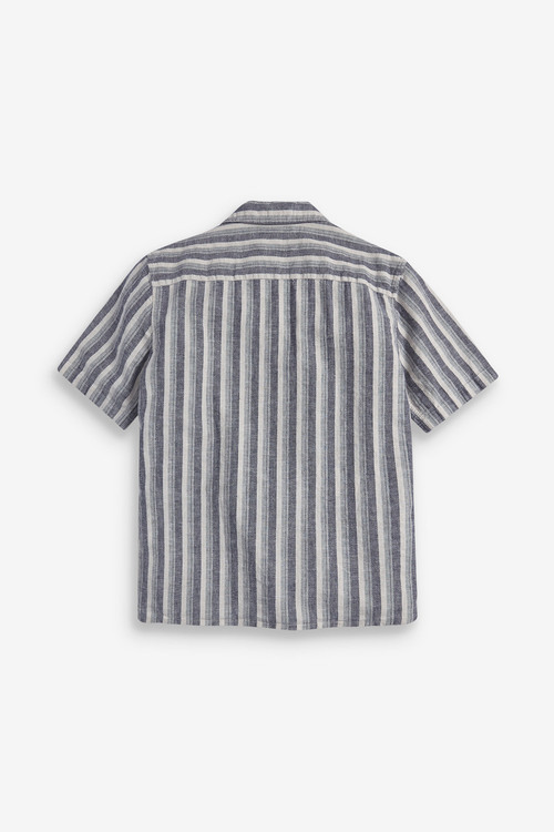 Next Textured Stripe Linen Blend Shirt