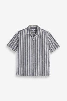Next Textured Stripe Linen Blend Shirt - 272807
