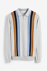 Next Stripe Zip Neck Knitted Polo