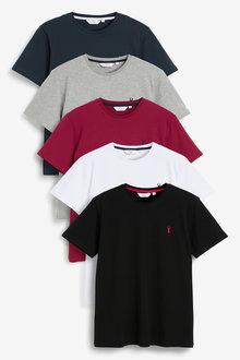 Next Crew Neck Regular Fit Stag T-Shirts Five Pack-Regular - 273043