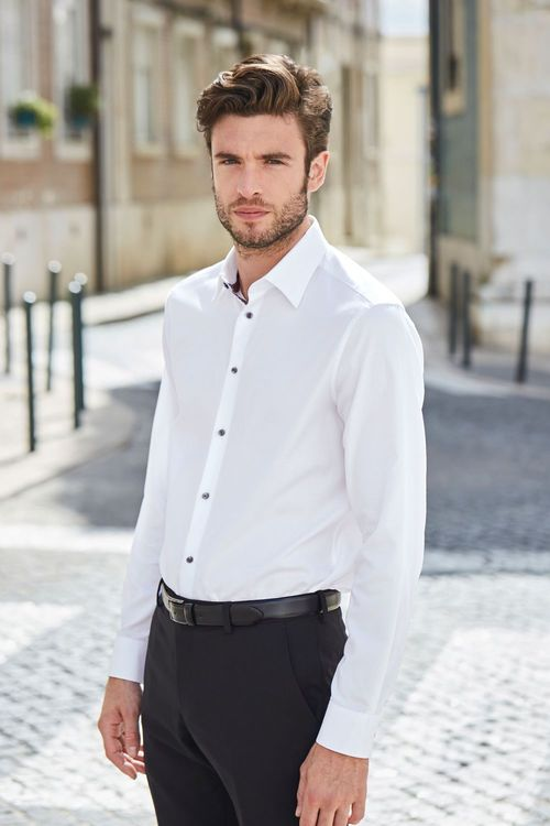 Next Signature Shirt with Geometric Trim-Slim Fit Single Cuff