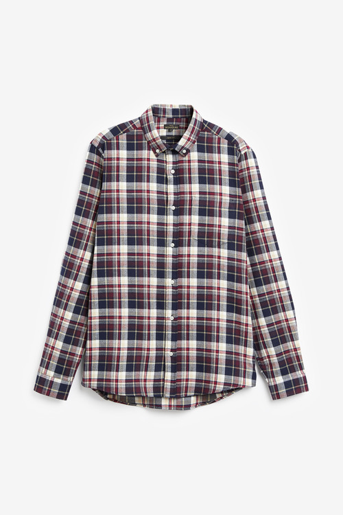 Next Brushed Flannel Check Long Sleeve Shirt-Slim Fit