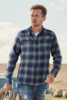 Next Brushed Flannel Check Long Sleeve Shirt-Regular Fit - 273268