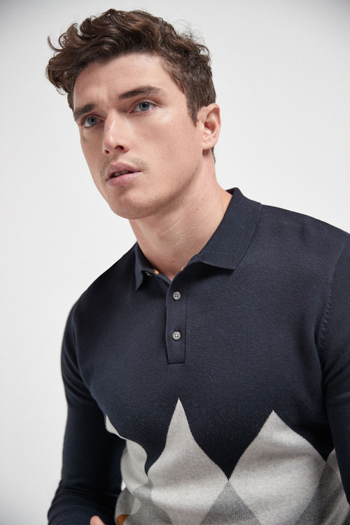 Next Argyle Pattern Check Knitted Polo