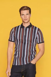 Next Slim Fit Vertical Stripe Zip Neck Poloshirt - 273321