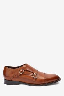 Next Signature Italian Leather Double Monk Shoes - 273466