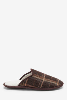 Next Check Borg Lined Slippers - 273478