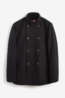 Next Double Breasted Funnel Neck Coat - 273553