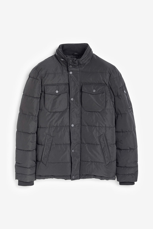 Next Shower Resistant Quilted Funnel Neck Jacket With Concealed Hood