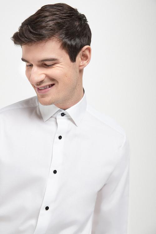 Next Contrast Trim Shirt-Regular Fit Single Cuff