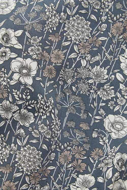 Next Floral Print Trim Detail Shirt-Slim Fit Single Cuff