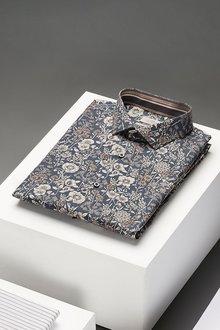 Next Floral Print Trim Detail Shirt-Slim Fit Single Cuff - 273591