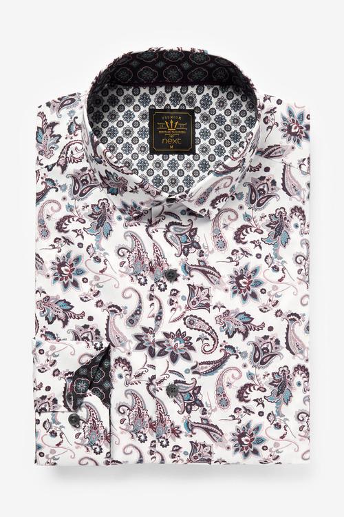 Next Paisley Print Shirt with Trim Detail