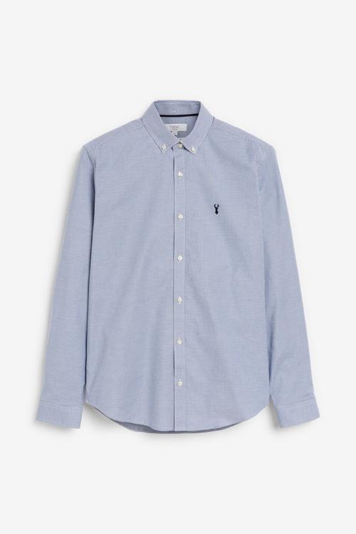 Next Long Sleeve Stretch Oxford Shirt-Regular Fit