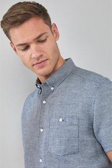 Next Linen Blend Short Sleeve Shirt-Tall - 273620