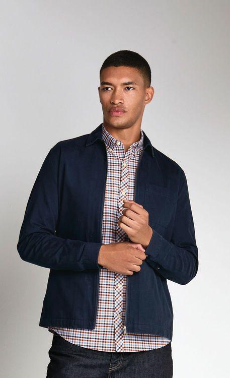 Next Gingham Long Sleeve Stretch Oxford Shirt-Slim Fit