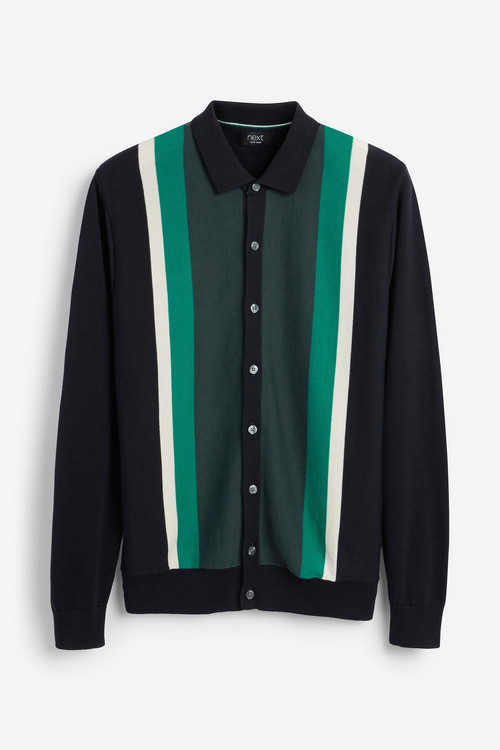 Next Vertical Stripe Knitted Polo