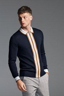 Next Stripe Knitted Zip Through Polo - 273664