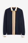 Next Stripe Knitted Zip Through Polo