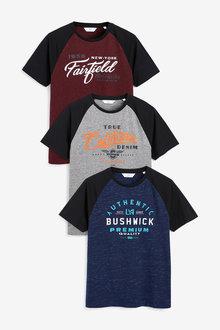 Next Raglan Graphic T-Shirts Three Pack - 273707