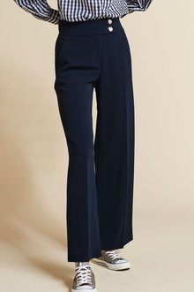 Next Wide Leg Gold Button Trousers-Regular - 273714