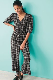 Next Check Puff Sleeve Belted Jumpsuit-Regular - 273844