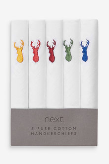 Next Stag Embroidered Five Pack Handkerchiefs - 273943