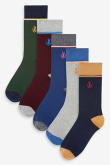 Next Colour Tipped Stag Embroidered Socks Five Pack - 274010
