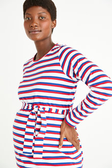 Next Maternity Belted Stripe Jersey Dress - 274099