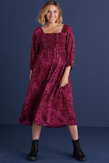 Next Maternity Square Neck Shirred Midi Dress - 274106