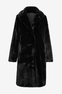 Next Longline Faux Fur Coat - 274129