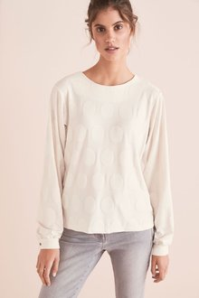 Next Jacquard Spot Long Sleeve Blouse - 274331