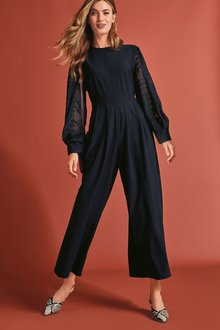 Next Checked Woven Sleeve Jumpsuit-Tall - 274343