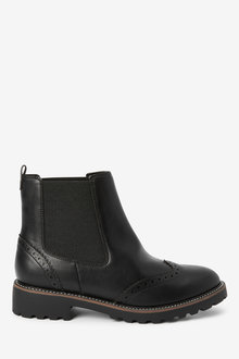 Next Forever Comfort Brogue Chelsea Boots-Wide Fit - 275397