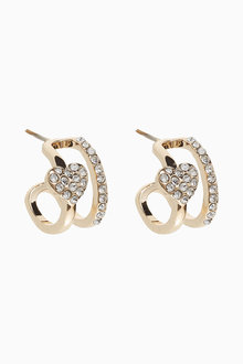Next Pave Heart Huggie Hoop Earrings - 275482