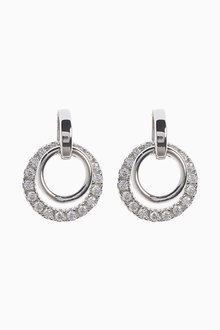 Next Cubic Zirconia Pave Circle Drop Earrings - 275517